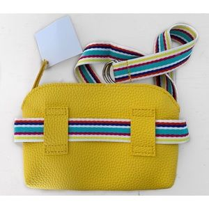 Nordstrom Bags - NORDSTROM LEATHER YELLOW RAINBOW STRAP FANNY PACK